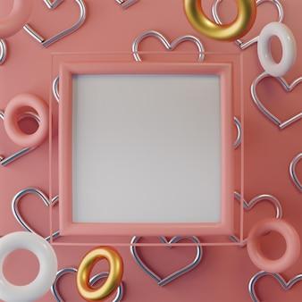 Розовая рамка искусства квадрат сердца с поплавками цветных колец
