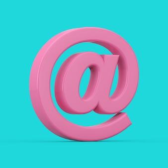파란색 배경에 이중톤 스타일의 분홍색 at 이메일 또는 인터넷 기호 로그인. 3d 렌더링