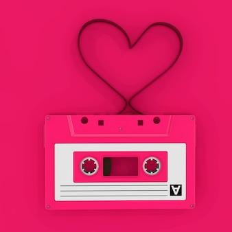 분홍색 배경에 하트 모양의 테이프 리본이 있는 분홍색 오디오 카세트 테이프. 3d 렌더링