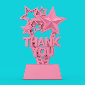 Pink award trophy with thank you sign in duotone style on a blue background. 3d rendering