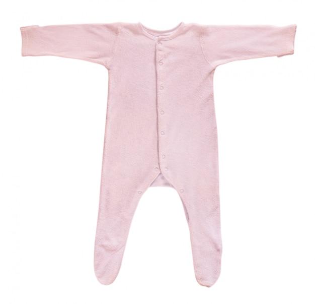白で隔離されるピンクの赤ちゃん寝台