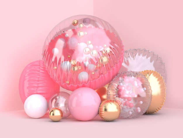 Pink background 3d rendering pink clear gold metallic balloon group