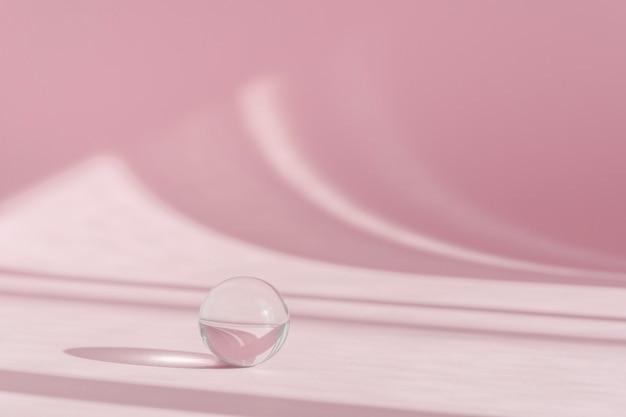창에서 그림자와 빛이있는 제품 프리젠 테이션을위한 분홍색 배경. 핑크 배경