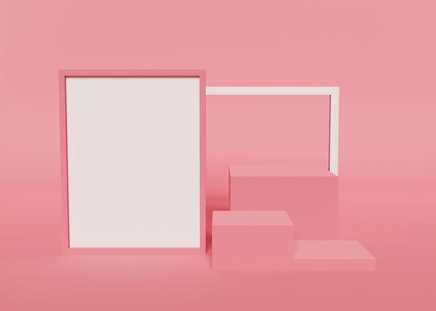 분홍색 배경 제품은 큐브 및 텍스트 상자 모형과 함께 서 있습니다. 3d 렌더링