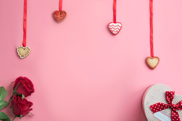 Pink background with concept for valentine's day Premium Photo