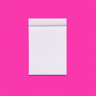 Pink background with notebook
