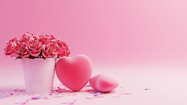 Розовый фон с красными сердцами и букет красных роз, 3d-рендеринг