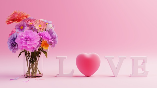 Pink background with red hearts and multicolor flowers, valentine day , 3d rendering