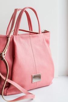 Pink bag.elegant and luxury fashion leather pink women handbag isolated