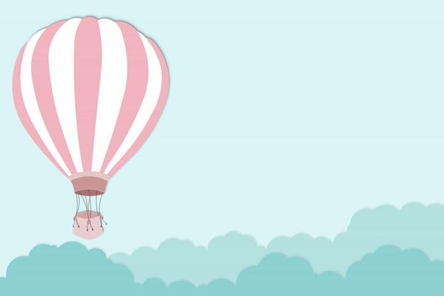 Pink balloon on bright blue sky background - balloon artwork for international balloon festival