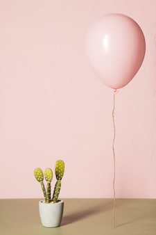 Pink balloon and cactus