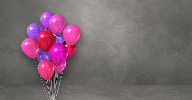 Pink balloons bunch on a grey wall background. horizontal banner. 3d illustration render