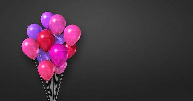 Букет розовых шаров на фоне черной стены. 3d рендеринг
