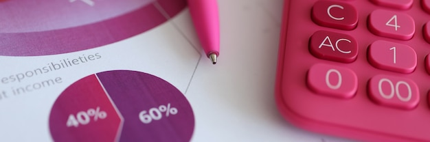 Pink ballpoint pen and calculator lying on documents with graphs closeup