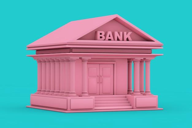 파란색 배경에 이중톤 스타일의 핑크 은행 건물. 3d 렌더링