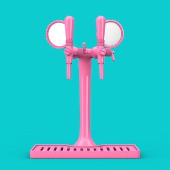 Пивной кран pink bar в двухцветном стиле на синем фоне. 3d рендеринг