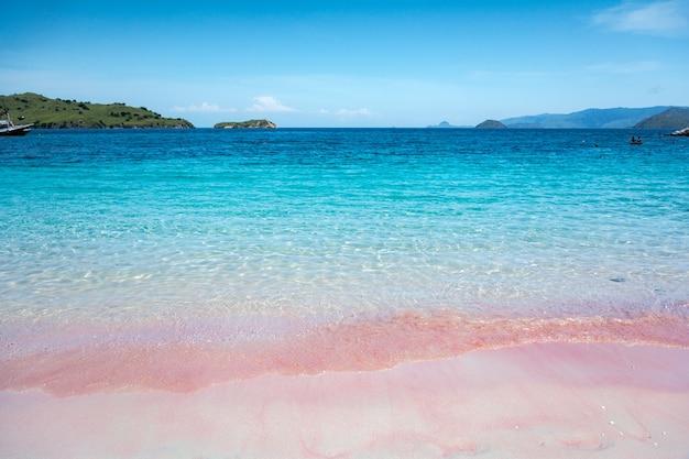 Розовый пляж и голубое небо в национальном парке комодо