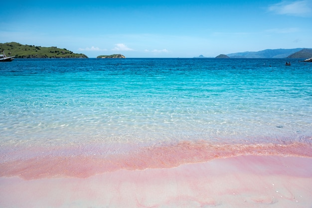 Pink beach and blue sky in komodo national park