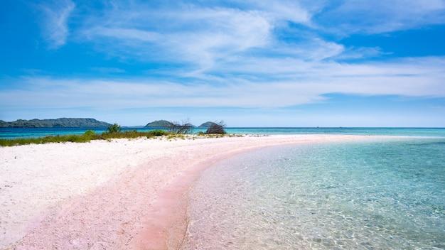 Розовый пляж в национальном парке комодо