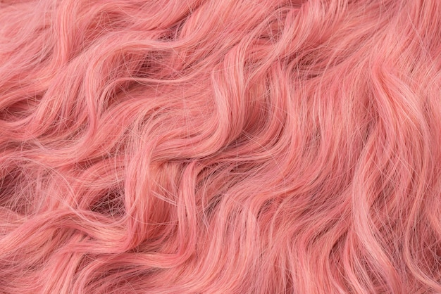 핑크 아름다운 물결 모양의 머리 패턴. 평면도.