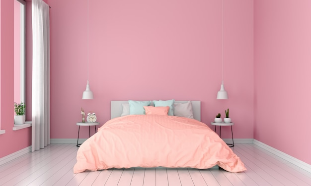 Pink bedroom interior for mockup, summer color concept
