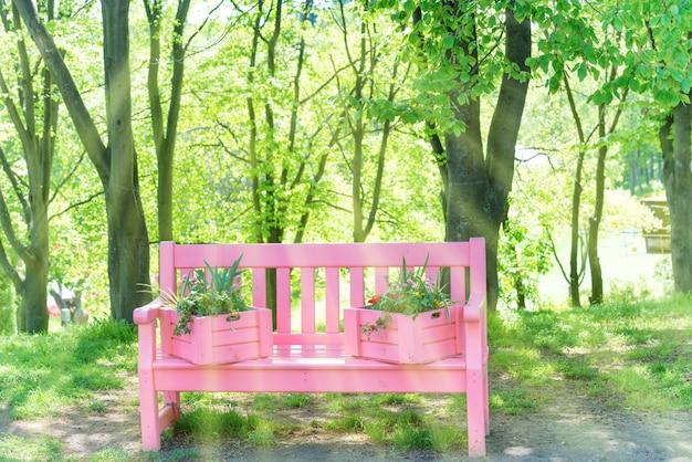 Розовая скамейка с цветами в зеленом весеннем парке