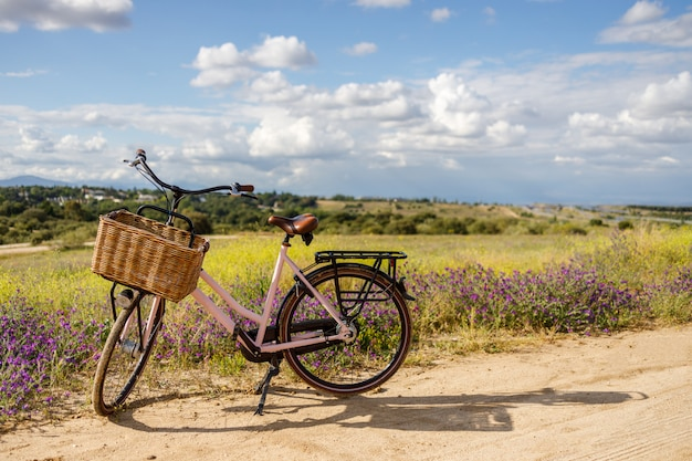 Pink bicycle with basket in a beautiful field full of flowers