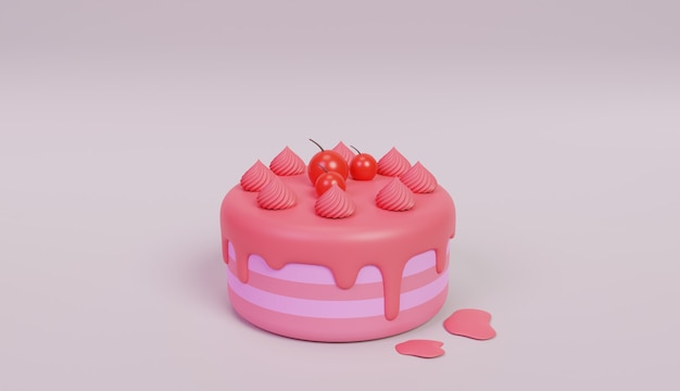 Pink birthday cake illustration 3d design with cherry on top
