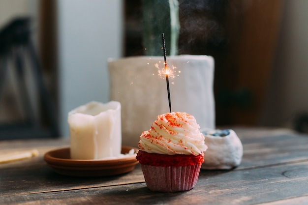 Pink birthday cupcake with sparkle candle