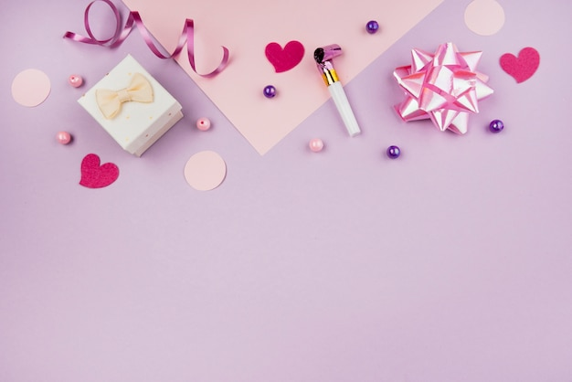 Pink birthday objects with copy-space