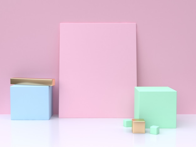 Pink blank square blue green cube minimal abstract background 3d rendering