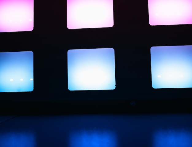 Pink and blue empty tv screens background