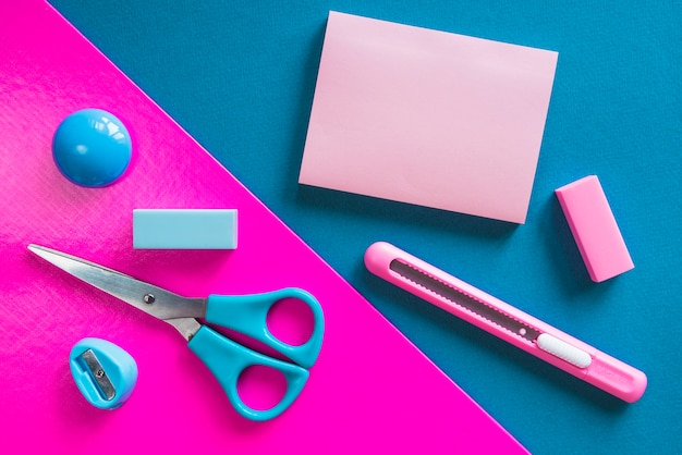 Pink and blue essential stationery