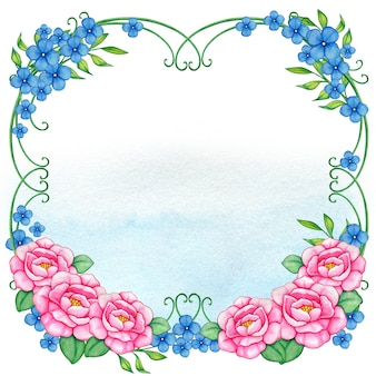Pink and blue fairytale floral frame