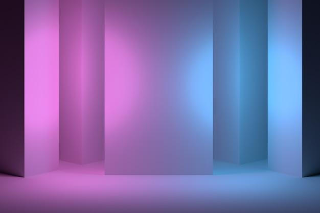 Pink blue interior with columns