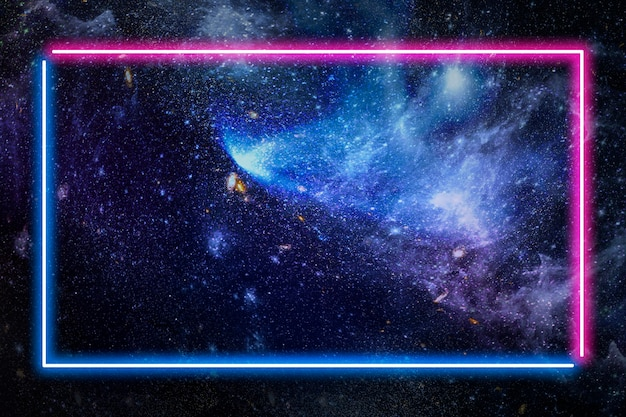 Pink and blue neon frame on a dark galaxy background illustration