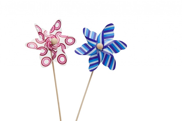 Pink and blue paper windmills