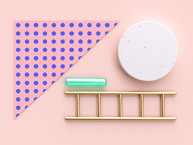 Pink blue pattern gold green abstract object geometric flat lay background 3d render