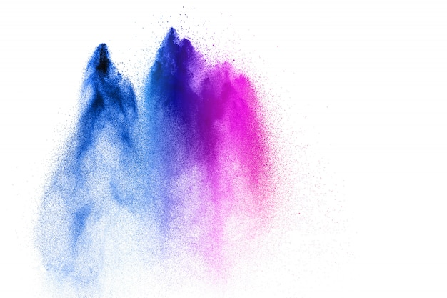 Pink blue powder explosion