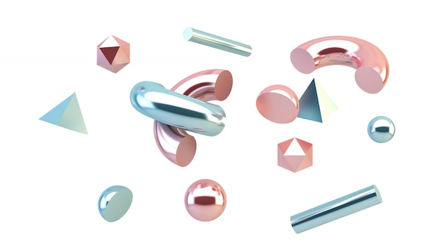 Pink and blue primitives