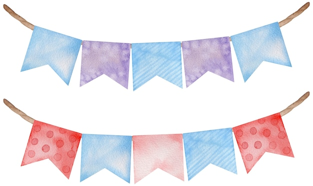 Pink and blue watercolor flags party garlands on white background