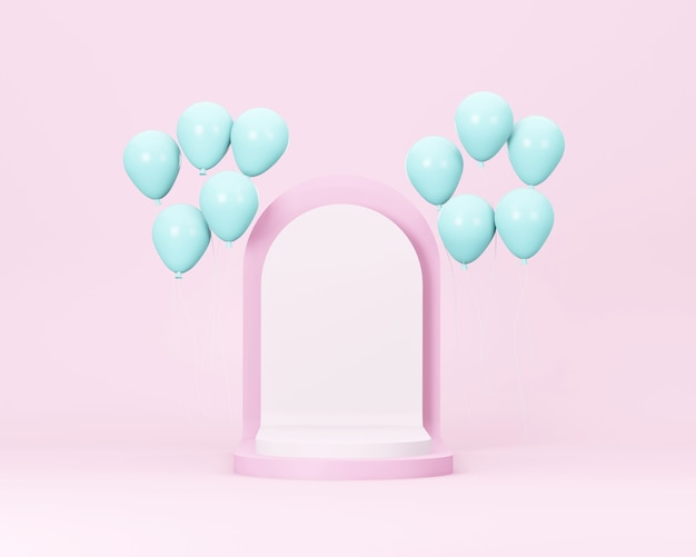 Pink booth podium stage for show case with blue balloon  pastel color template minimal