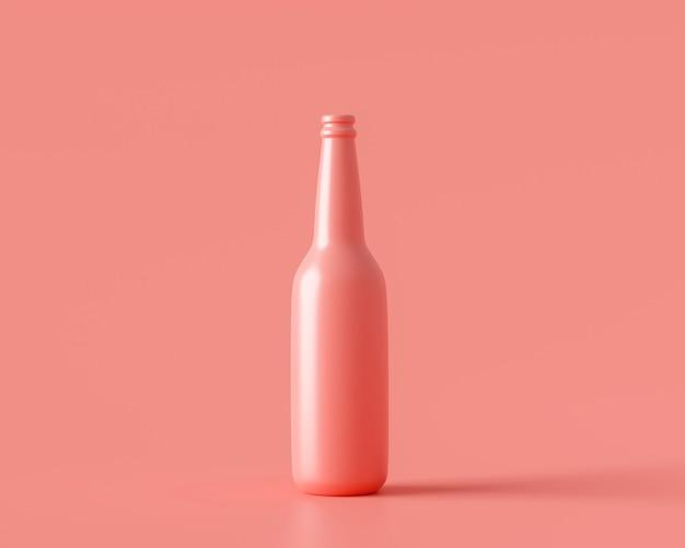 パステル カラーの背景 3 d レンダリングにドリンク飲料ガラスのピンクのボトル