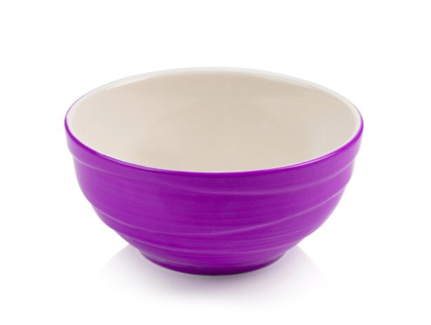 Pink bowl on white space