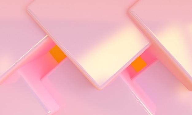 Pink box 3d минималистский стиль дизайна, 3d визуализация абстрактный фон.