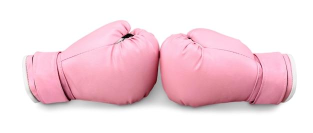 背景にピンクのボクシンググローブ