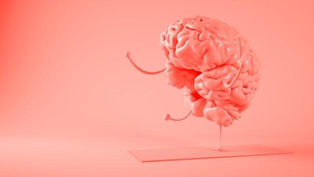 Розовый мозг делает 3d-рендеринг йоги