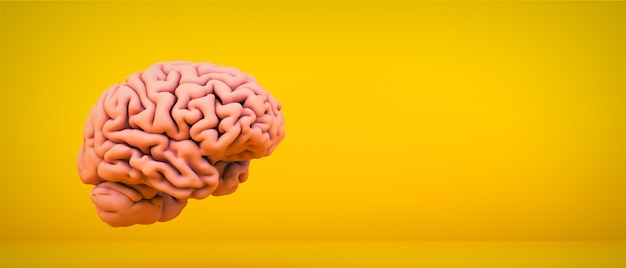 Розовый мозг на желтой комнате, 3d-рендеринг