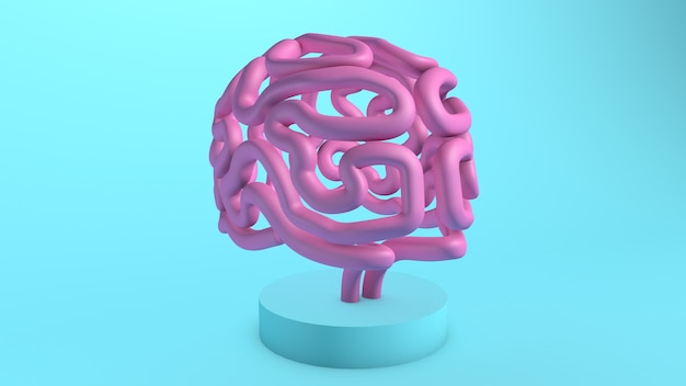 Pink brain on a stand 3d render