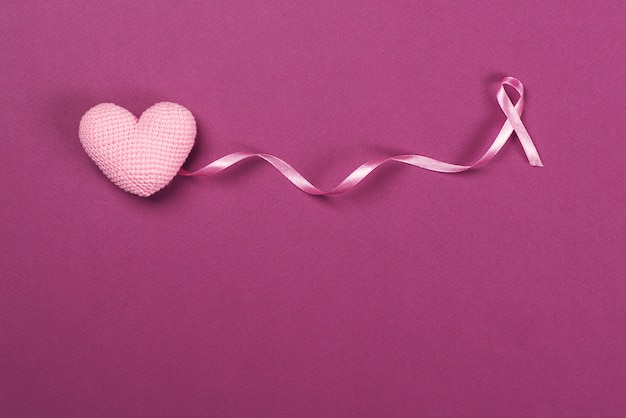 Pink breast cancer ribbon with decoration pink heart .